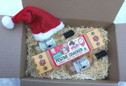 DOG CHRISTMAS GIFT BOX WITH DOG WINES XMAS HAT DOG TREATS & XMAS BANADANA